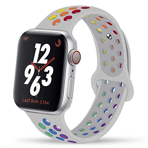 MIJI Correa de Silicona para Apple Watch Band 44Mm 40Mm 38Mm 42Mm Cinturón de muñeca Transpirable Pulsera Deportiva Iwatch Serie 5 4 3 2 40 38 42 44 Mm, Rainbow-Grey 58, ML