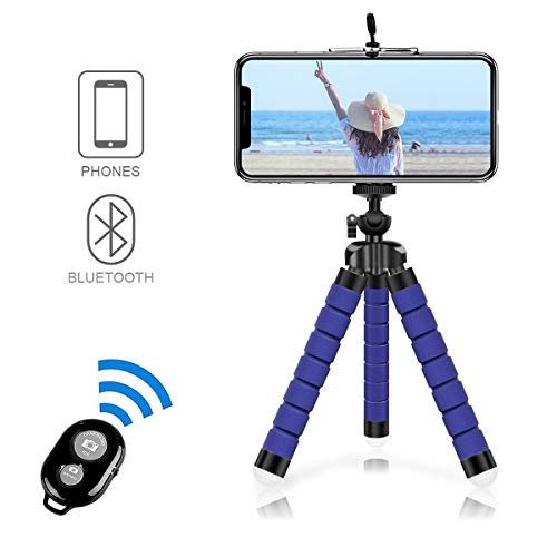 Alfort Selfie Stick Tripod,Flexible Mini Phone Tripod Portable Monopod Stand Holder with Bluetooth Wireless Remote System IOS/Android for iPhone 8/8 Plus/Samsung Galaxy/Huawei/Xiaomi/Sony/LG Blue