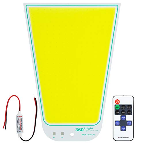 Plyisty Panel de luz LED COB, Chip de luz de Panel LED COB de 12V-24V 70W, luz Blanca 6000-6500K, con Control Remoto, para Acampar, Pesca Nocturna, etc.(Blanco)