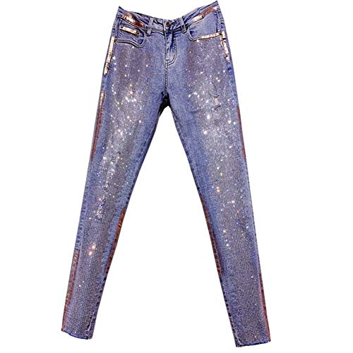 YooSz Hot Bohren Dünne Jeans Bronze Retro Diamant Ripped Holes Hohe Taillen-Bleistift-Hosen Frauen-Jeans (Size : S)