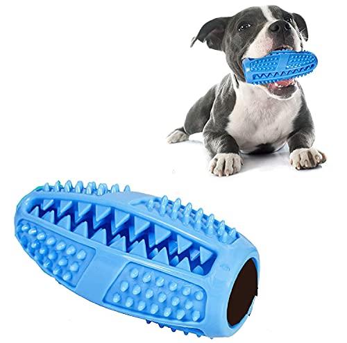 Juguetes masticables para cachorros, bola dispensadora de limpieza de dientes, cepillo de goma natural, no tóxico, resistente a las mordeduras (azul)