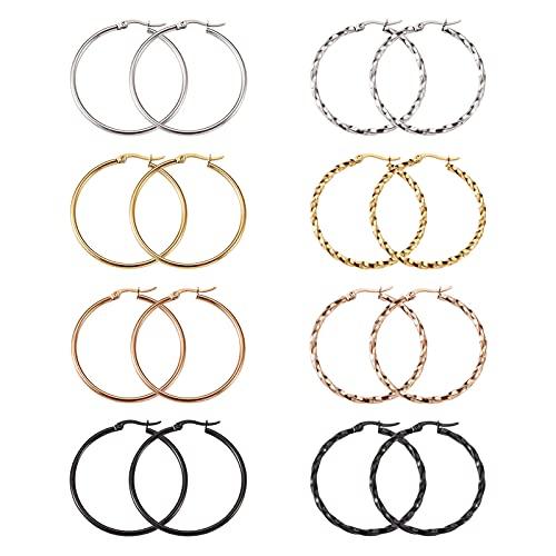 PandaHall 8 pares de pendientes redondos de acero de titanio de 20 mm, 4 colores, anillo grande, encantador, gran pendiente para mujeres y niñas
