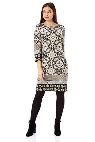 Roman Originals Damen Shift-Kleid mit Azteken-Print - Damen knielange Kleider mit 3/4-Ärmeln für tagsüber, Arbeit, leger, Büro - Stein - Größe 40,Etikette Gr: 12