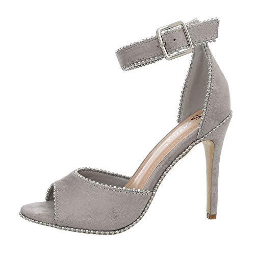 Ital-Design Damenschuhe Sandalen & Sandaletten High Heel Sandaletten Synthetik Grau Gr. 37