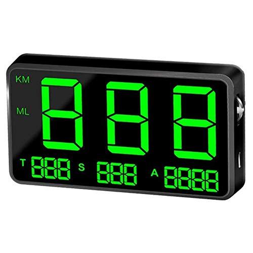 GPS snelheidsmeter snelheidsmeter Auto HUD Head Up Display, KM/H MPH snelheid alarm, USB-lader beschikbaar, voor alle voertuigen, fietsen,Black