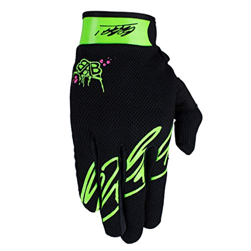 Maniac RACEWEAR leichte Handschuhe Mountain Bike Downhill Enduro Motocross Freeride DH MX MTB BMX Quad Cross, schnelltrocknend, rutschfest und atmungsaktiv, Farbe Schwarz Grün, Größe XS