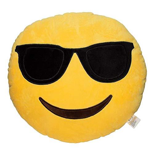 KayMayn Emoji Smiley Emoticon Cuscino rotondo giallo 32 cm, Emoticon carino morbido imbottito confortevole peluche Smiley cuscino cuscino peluche farcito peluche peluche peluche peluche