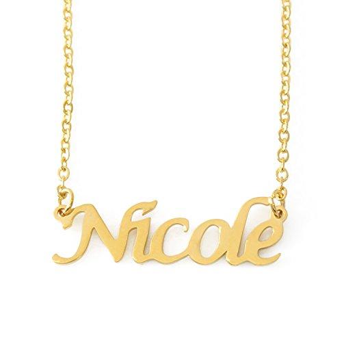 Kigu Nicole Nome Personalizzato–Collana placcata Oro 18kt–Catena Regolabile 40,6cm–48,3cm imballaggio
