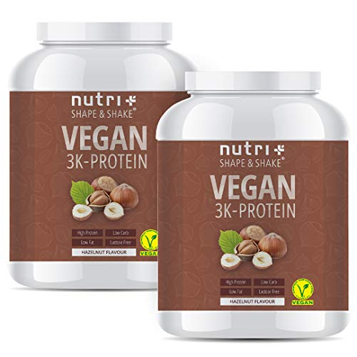 PROTEINPULVER VEGAN Haselnuss 2000g - 83,5{4fabdc237e8e5620cf6f24a30865bce277a580f597ccbd9dca5a77f3a8270a34} Eiweiß - Shape & Shake 3k-Protein Nuss 2kg - Nutri-Plus Veganes Eiweißpulver ohne Lactose, Milch & Whey - Hazelnut Flavor