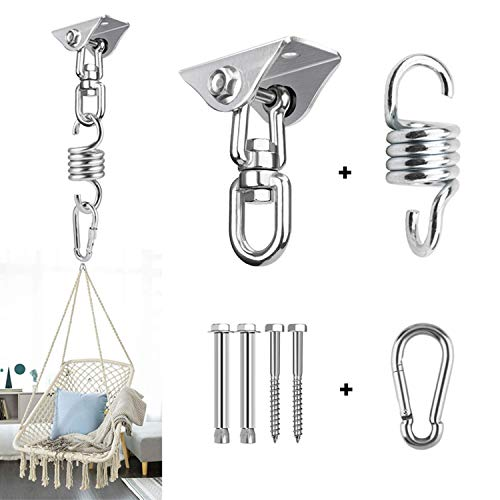 BLADOPIA Hammock Chair Hanging Kit for Bedroom, Outdoor Patio Porch Swing Hardware, Heavy Duty Punching Bag Swivel Hanger, Ceiling Mount Hook for Aeorial Yoga Trapeze, Boxing, Tire Rope Swinging