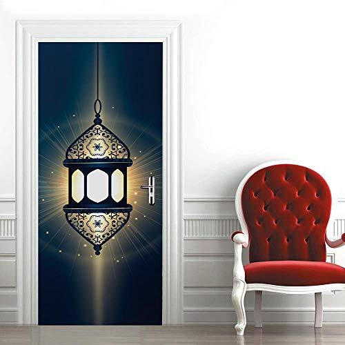Mural para Puerta Luz Oscura 3D Papel Pintado Puerta Autoadhesivo Vinilos Pegatinas De Pared Diy Decoraciones para Puerta Sala De Baño Estar Dormitorio 88X200Cm
