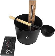 SudoreWell® Kit de sauna KOLO Premium en aluminium noir Seau de sauna et louche de sauna à coller plus climatiseur et sabl...
