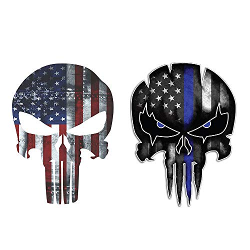 Practlsol Car Decals, 2 Pack Punisher Skull Decal-Reflective American Flag Car Sticker Decals, Car Decal Vinyl Rear Window Decal for Car/Truck/SUV/Jeep, Universal Car Stickers