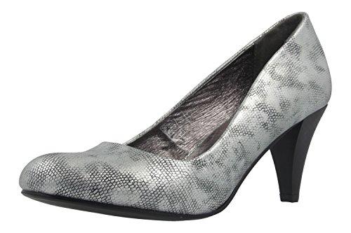 Fitters Footwear That Fits Damen Pump Princess Metallic Pumps mit bequemem Lederfutter Übergröße (42 EU, Silber)