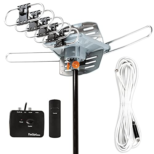 Five Star Outdoor 150 Mile Motorized 360 Degree Rotation OTA Amplified HDTV Antenna for 2 TVs Support - UHF/VHF/1080P Channels Wireless Remote Control - 40 FT RG6 Coax Cable