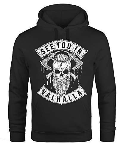 Neverless® Hoodie Herren See You in Valhalla Wikinger Totenkopf Skull Print Kapuzen-Pullover Männer Fashion Streetstyle schwarz XL
