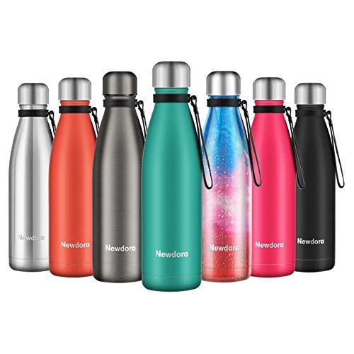 Newdora Bottiglia Acqua in Acciaio Inox 500ml, Tazze da Viaggio, Borraccia Termica Isolamento Sottovuoto a Doppia Parete, per Campeggio di Sport Esterni Escursionismo Escursioni in Bicicletta, Verde