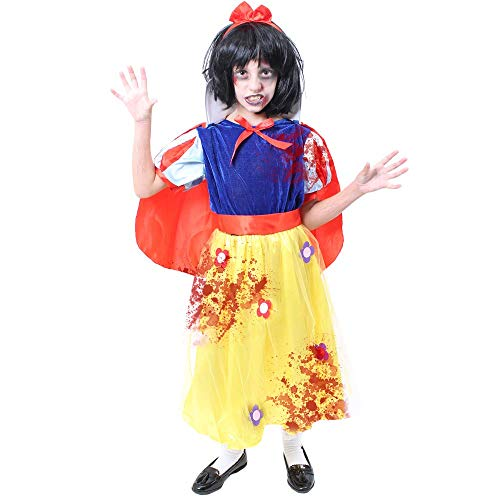 Disfraz infantil de princesa de la nieve con diseo de zombie - Disfraz de princesa blanca + gorro + rojo + pintura facial + sangre falsa - Disfraz perfecto para nios - Talla grande de 10 a 12 aos