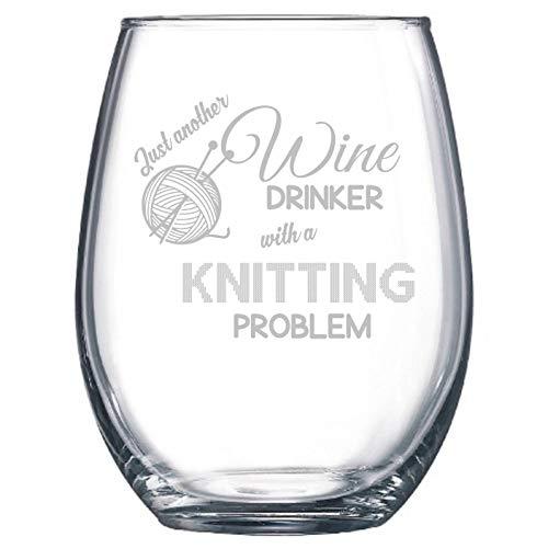 Knitting Knitter Yarn Novelty Funny Gift Wine Glass