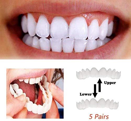 BCBKD Zahnersatz Provisorischer 5 Paare Temporäre Lächeln Comfort Fit Kosmetische Zähne Prothese Zähne Top Cosmetic Veneer