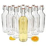 MamboCat Berta 12er Set Leere Glasflaschen 1l mit Bügelverschluss Kopf aus Porzellan mit Gummidichtung I Bügel Flaschen für Likör zum selbst Befüllen I Glas Einmachflaschen Abfüllflasche 1000ml