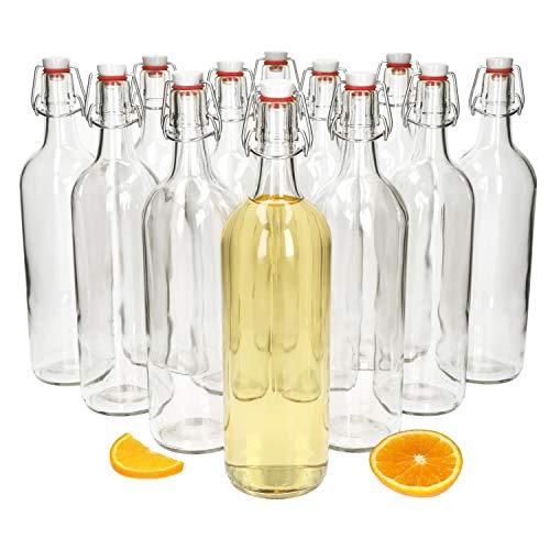 MamboCat Berta Lot de 12bouteilles vides, en verre, 1l chacune, avec bouchon à étrier en porcelaine à joint en caoutchouc, pour les liqueurs, à remplir soi-même, 1000ml