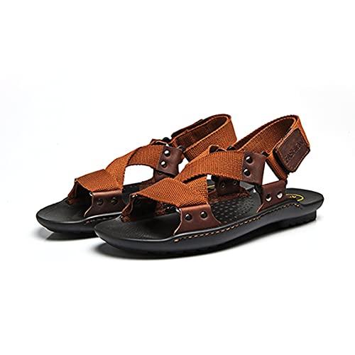 Tree-es-Life Sandalias Antideslizantes de Piel de Vaca Genuina con Suela de Goma para Hombre, Zapatos de Playa de Ocio de Verano a la Moda, Sandalias para Hombre Transpirables, marrón Claro 42