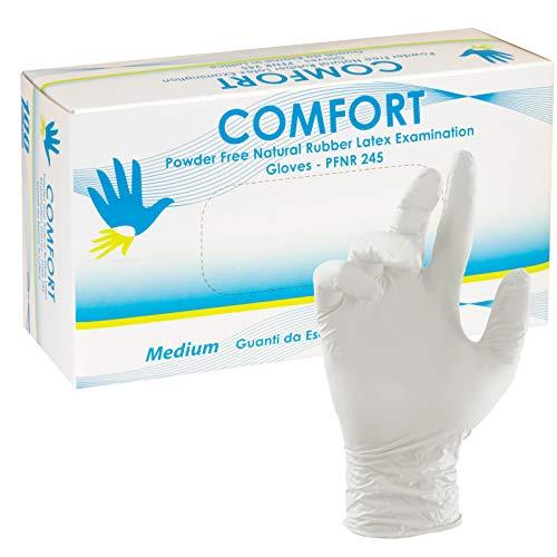 Guanti Monouso Non Medicali in Lattice Senza Talco Confezione da 100 per Pelli Sensibili Guanti da Lavoro Colore Bianco (XL - Extra Large)