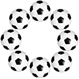 SIMUR 8pcs Mini Balones De Fútbol Bola De Plástico De Mesa Juego De Fútbol De Reemplazo Juguetes para Niños Negro Y Negro para Amantes del fútbol de Mesa Actividades Deportivas 36mm