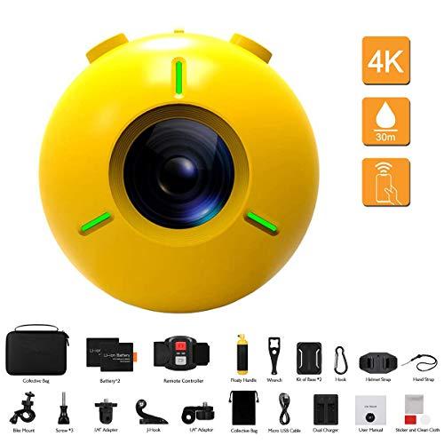 Kalacam 4K 16MP Wi-Fi Action Camcorder, HD drijvende videocamera, met afstandsbediening, ijs-stabilisatie, waterdichte helm met 30 m waterdichte helm, met 2 x 1050 mAh batterijen en 20 accessoires