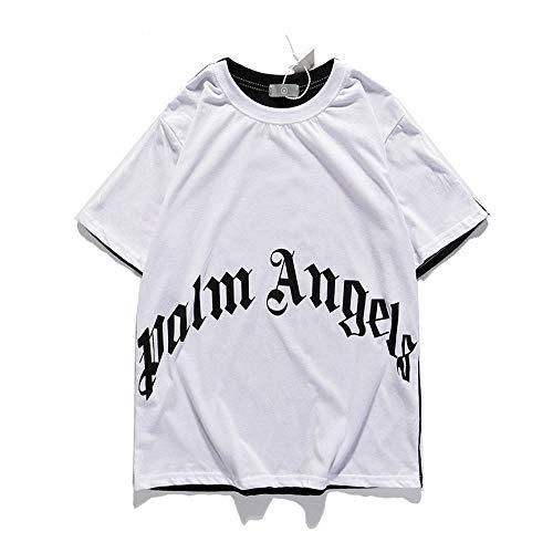 Mannen Vrouwen T-shirt Palm Angel korte mouw Casual Skull Print Zwart Wit Contrast Tee Tops,L
