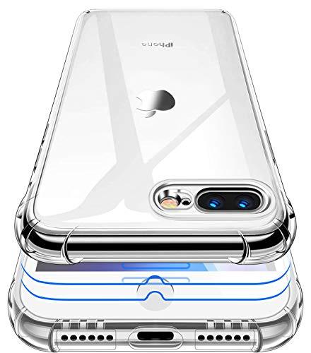 Garegce Cover Compatibile con iPhone 8 Plus/iPhone 7 Plus, 2 Pezzi Vetro Temperato, Silicone Antiurto Protettiva Case Custodia Compatibile con iPhone 8 Plus/7 Plus - 5.5 Pollici - Trasparente