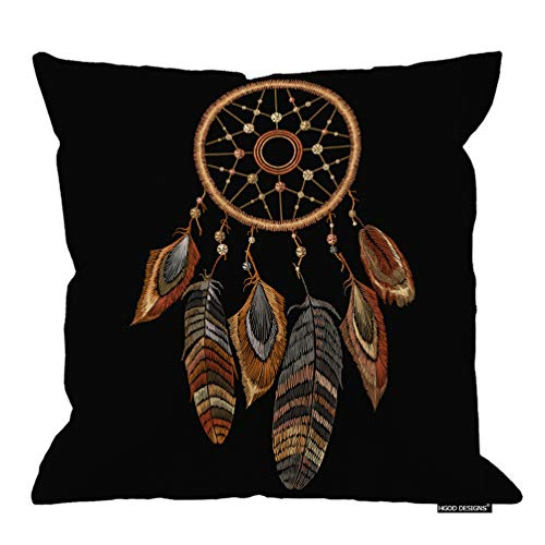 HGOD DESIGNS Dreamcatcher Pillow Case,Embroidery Tribal Dream Catcher Boho Native American Indian Talisman Cotton Linen Polyester Decorative Home Decor Sofa Couch Desk Chair Bedroom 16x16inch