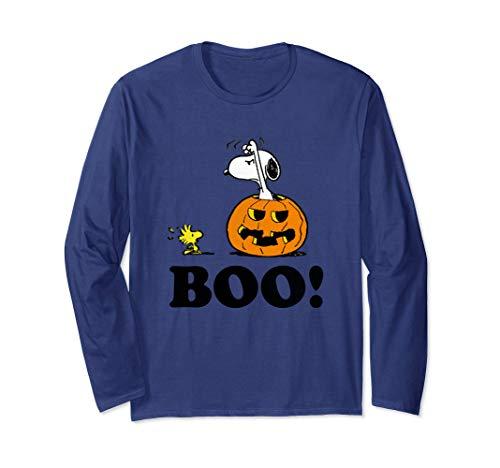 Adult Unisex Snoopy in Pumpkin Scaring Woodstock Long Sleeve T-shirt