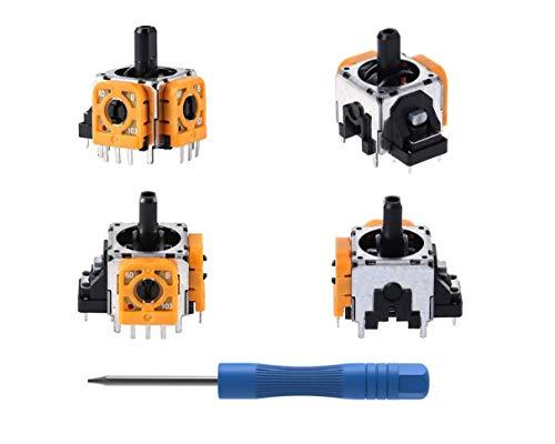 PeakLead 4PCs Analog Joystick Ersatz mit Trimmer Potentiometer in Orange für PS4 Pro DualShock 4, Ersatzteile 3D Thumb Stick Wireless Controller Rocker Sensor Modul mit Schraubendreher Tool Kit