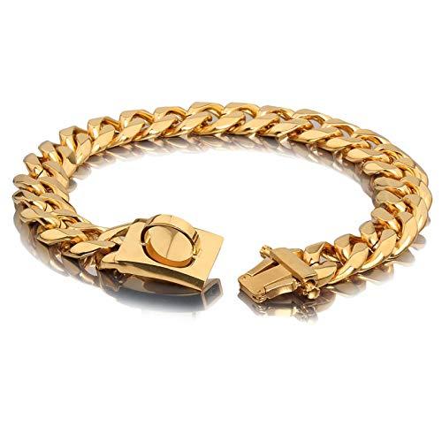 Gold Hundekettenhalsband Heavy Duty Cuban Dog Link Halsband Edelstahl Hip Hop Hundehalsband Gold Chain Slip Hundehalsbänder mit Metall Sicherheitsschnalle für Bully Pitbull, Mastiff, Big Breeds