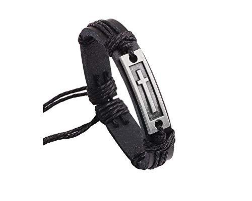Fashion Cross Leather Bracelet Alloy Cross Religious Gifts for Men Boys Jewelry-Black