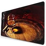 HUAYEXI Alfombrilla Gaming,Whisky Cigarro Coñac Alcohólico En Barril De Bebidas De Roble Viejo Lujo Bebida RARA Real,con Base de Goma Antideslizante,750×400×3mm