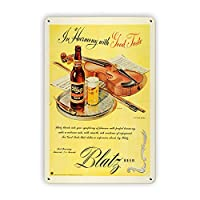 Blatz Beer Ad Vintage Tin Signs、Retro Metal Sign Wall Plaque Decor Funny Gifts for Bar Restaurant Home Decoration壁画ポスター、8x12インチ メタルプレートブリキ 看板 2枚セットアンティークレトロ