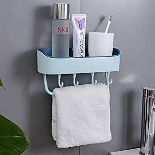 Wall-Mounted Storage Rack, Floating Shelves for Wall,Wall-Mounted Rack, Simple Punch-Free Design, Suitable for Kitchen, Bathroom, Toilet Multi-Functional Plastic Storage Rack (Light Blue)