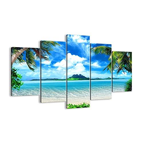 Quadro su tela - 5 Parties - Spiaggia vacanza isola palma - 150x100cm - Pronto da appendere - Home Decor - Stampe su Tela - Quadri Moderni - completamente incorniciato - EA150x100-2528