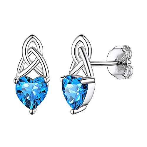 925 Sterling Silver Dainty Cute Hypoallergenic Triquetra Celtic Trinity Knot Heart Shaped Simulated Blue Topaz December Birthstone Stud Earrings Irish Jewelry for Women Teens