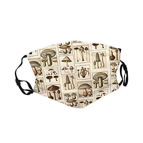 Sport Face Ma_sk, traspirante, lavabile, riutilizzabile, in tessuto sportivo con cinturino regolabile per adulti e giovani, zaino vintage con funghi botanici