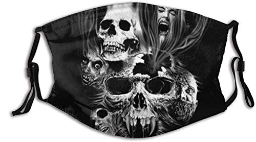 Face Mask Black and White Horror Style Picture, Skull and Woman Yelling On Black Background Balaclava Unisex Reusable Windproof Mouth Bandanas Outdoor Neck Gaiter Made in USA