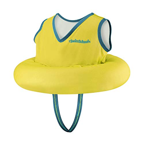 SwimSchool Deluxe TOT Swimmer for Kids, 4-in-1 Multi-Purpose Pool Float, Learn-to-Swim, Adjustable Safety Seat, Heavy Duty, Yellow, Model Number: SSO10165YL