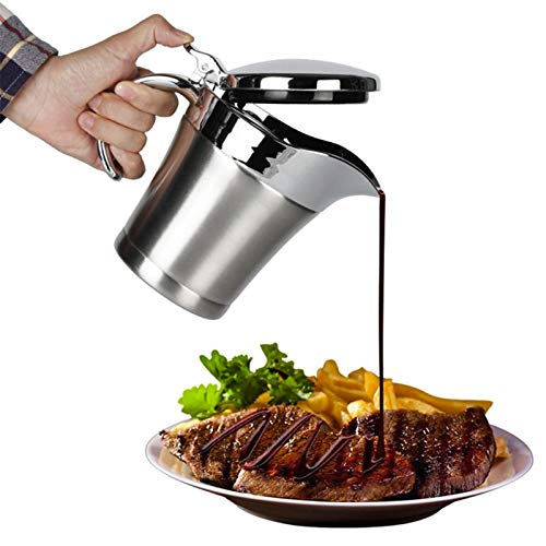 Y56 Sauciere aus Edelstahl, Doppelt isoliert, ideal für Bratensoßen, Vanilleeis Und Schlagsahne, Sauciere Soßenkanne Soßenschale Isolier Kanne doppelwandig Edelstahl (Silber, 750ml)