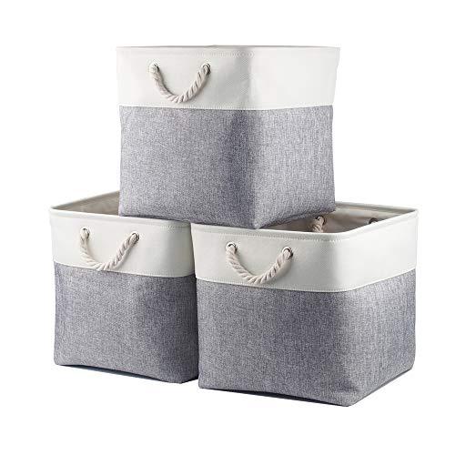 Mangata 30x30x30 cm Canvas Fabric Aufbewahrungswürfel (30cm/Weiß Grau, 3 Pack)