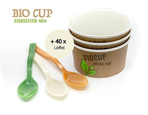 40 Eisbecher aus BIO Pappe inkl. 40 BIO Löffel | Bio Cup - Der ökologisch nachhaltig hergestellte Eisbecher | umweltfreundlich kompostierbar recyclebar | aus Maisstärke für Geburtstag, Camping usw