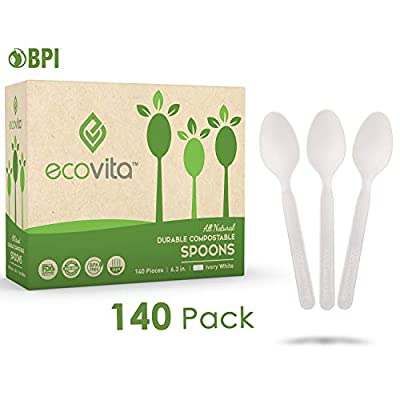 100% Compostable Spoons - 140 Large Disposable Utensils (6.5 in.) Eco Friendly Durable and Heat Resistant Alternative to Plastic Spoons with Convenient Tray by Ecovita