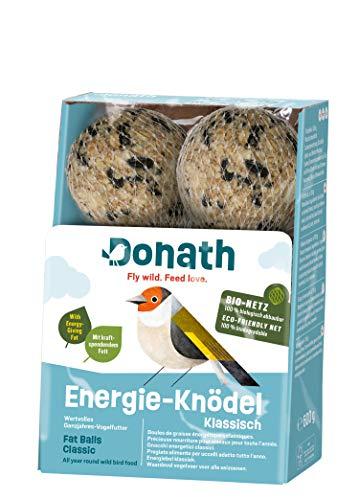 Donath Energie-Knödel klassisch, im BIO-Netz - 6 Meisenknödel im BIO-Netz im Vorteilseimer (6 x 100g) - wertvolles Ganzjahres Wildvogelfutter - aus unserer Manufaktur in Süddeutschland